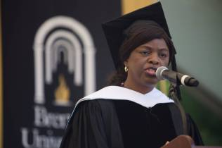 Annie B. Andrews, retired Rear Admiral in the United States Navy and Assistant Administrator for Human Resources Management with the Federal Aviation Administration, delivers the commencement address during The Women's College Commencement on Friday, May 6, 2016, in Gainesville, Ga. (AJ Reynolds/Brenau University)
