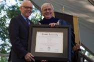 John S. Burd, former Brenau President, poses for a photo with Brenau President Ed Schrader after receiving an honorary degree during The Women's College commencement on Friday, May 6, 2016, in Gainesville, Ga. (AJ Reynolds/Brenau University)
