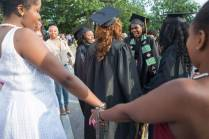 Austalia Beaufait, Kierra Herring, Jordan Pittman and Nichele Nibbs are serenaded by Alpha Kappa Alpha sisters after The Women's College commencement on Friday, May 6, 2016, in Gainesville, Ga. (AJ Reynolds/Brenau University)