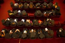 Graduates wait inside Pearce Auditorium before The Women's College commencement on Friday, May 6, 2016, in Gainesville, Ga. (AJ Reynolds/Brenau University)