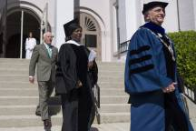 Brenau President Ed Schrader, from right, Annie B. Andrews, retired Rear Admiral in the United States Navy and Assistant Administrator for Human Resources Management with the Federal Aviation Administration, and Pete Miller, chairman of the Brenau University Board of Trustees, process to the Front Lawn during The Women's College commencement on Friday, May 6, 2016, in Gainesville, Ga. (AJ Reynolds/Brenau University)