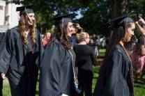 Valerie Rodriguez, from right, Tahimi Perez-Borroto and Olivia Varnson, all WC '16, take part in the Processional during The Women's College commencement on Friday, May 6, 2016, in Gainesville, Ga. (AJ Reynolds/Brenau University)