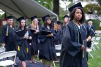 Jasmine Ray, WC '16, takes part in the Recessional during The Women's College commencement on Friday, May 6, 2016, in Gainesville, Ga. (AJ Reynolds/Brenau University)