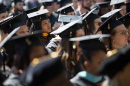 Georcol Gomillion, a candidate for the Master of Science Degree in Clinical Psychology, listens to the commencement address during the Brenau University Undergraduate and Graduate Commencement on Saturday, May 7, 2016, in Gainesville, Ga. (AJ Reynolds/Brenau University)