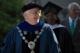 Brenau President Ed Schrader in the processional during the Brenau University Undergraduate and Graduate Commencement on Saturday, May 7, 2016, in Gainesville, Ga. (AJ Reynolds/Brenau University)