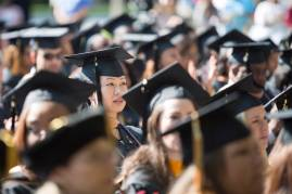 Graduates listen to the commencement address during the Brenau University Undergraduate and Graduate Commencement on Saturday, May 7, 2016, in Gainesville, Ga. (AJ Reynolds/Brenau University)