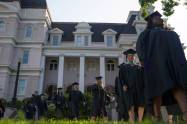 Graduates take part in the processional during the Brenau University Undergraduate and Graduate Commencement on Saturday, May 7, 2016, in Gainesville, Ga. (AJ Reynolds/Brenau University)