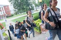 From front to back, Cathy Wu, Crystal Wang, Iris Shi, Lavender Qin, Lynn Lu, Harry Deng and Daisy Qiu arrive at the Owens Student Center. (AJ Reynolds/Brenau University)
