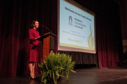 Catherine Dixon speaks during the 4th Annual Women's Leadership Colloquium on Friday, March 17, 2017. (AJ Reynolds/Brenau University)