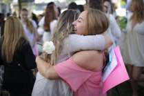 Emily Burgess shares a hug with a friend during the 2017 Alumnae Reunion Weekend at Brenau University, Saturday, April 08, 2017. (Photo/ John Roark for Brenau University)