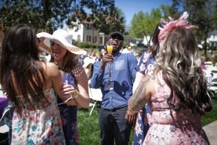 Junior Dwight Leslie enjoys laughs with alumae during the 2017 Alumnae Reunion Weekend at Brenau University, Saturday, April 08, 2017. (Photo/ John Roark for Brenau University)