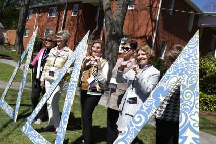 From left to right: Paula Speight LaMotte McCutchen,Jennie Gaines Caldwell, Sudan Sperry Cage, Mallory Gallion Bear, Kirby Lewis Colson, Carolyn Avery, all class of 1967, pose for a photo at the Delta Delta Delta house during the 2017 Alumnae Reunion Weekend at Brenau University, Saturday, April 08, 2017. (Photo/ John Roark for Brenau University)