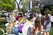 A group of alumnae gather on the Wilkes Lawn for the Champagne Brunch. (AJ Reynolds/Brenau University)