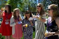 Marjorie Edenfield, WC '12, Abbey Benson, WC '16, Annie Johnston, WC '12, Katey Williams, WC '14, and Katie Barth WC '14, laugh at the Champagne Brunch. (AJ Reynolds/Brenau University)