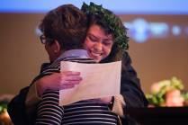 Bethany Green hugs Tami English after receiving an award during the Class Day ceremony. (AJ Reynolds/Brenau University)
