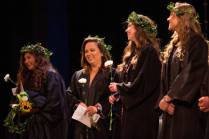 From left to right, Nancy Benitez, Cassidy Collier, Katelyn Brown and Pam Konken react on the stage during Class Day. (AJ Reynolds/Brenau University)