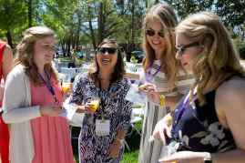 Abbey Benson, WC '16, Annie Johnston, WC '12, Katey Williams, WC '14, and Katie Barth WC '14, celebrate at the Champagne Brunch. (AJ Reynolds/Brenau University)