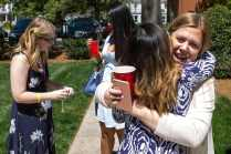 Anna Claire Dover, WC '14, and Annie Johnston, WC '12, reunite at the Champagne Brunch. (AJ Reynolds/Brenau University)