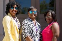 Amanda Butts, WC '99, Stephanie Renee Shaw, WC '96, and Marsha Stringer, WC '96, members of Alph Kappa Alpha sorority pose for a photo/ (AJ Reynolds/Brenau University)