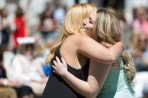 Hannah Vigil-Shuck, right gets a hug from Madison Jones during May Day. (AJ Reynolds/Brenau University)