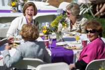 Clockwise from top, members of the class of 1967 Susan Sperry Cage, Jennie Gaines Caldwell, Paula Speight Lamotte McCutchen and Kirby Lewis Colson laugh during the President's toast at the Champagne Brunch. (AJ Reynolds/Brenau University) (AJ Reynolds/Brenau University)