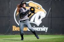 MacKenzie Oliver Mullis warms up in the outfield during the opening double header at the Pacolet Milliken Field at the Ernest Ledford Grindle Athletics Complex between the Brenau Golden Tigers and Talladega College. (AJ Reynolds/Brenau University)