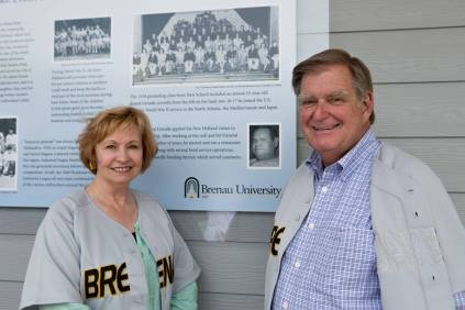 Doug and Kay Ivester pose for a photo at the Pacolet Milliken Field in the Ernest Ledford Grindle Athletics Park. The park is named for Kay's Father.(AJ Reynolds/Brenau University)