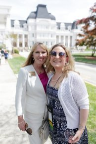 Debra Dobkins, dean of the Women's College, poses for a photo with Susan Papesh, WC '06, during Alumnae Reunion Weekend on Friday, April 13, 2018. (AJ Reynolds/Brenau University)