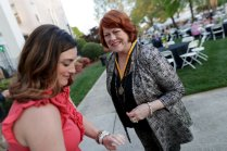 Joan Holland Crissman, WC '68, is pinned for her 50th reunion. (AJ Reynolds/Brenau University)