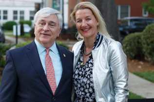Brenau President Ed Schrader and Ute Niedermeier. (AJ Reynolds/Brenau University)