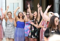 Members of the Phi Mu sorority sing songs during the sorority open house of the Alumnae Reunion Weekend & May Day at Brenau University Saturday, April 14, 2018, in Gainesville, Ga. Photo by Jason Getz / Brenau University
