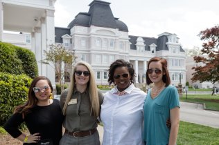 Cassiday Collier, Jasimine Brewster, Ariana Snowden and Lilyanne Lee pose for a photo during Alumnae Reunion Weekend on Friday, April 13, 2018. (AJ Reynolds/Brenau University)