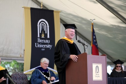 Butch Miller, Georgia State Senate President Pro Tempore, delivers the commencement address during the Women's College Commencement at Brenau University Friday May 4, 2018 in Gainesville, Ga. (Jason Getz for Brenau University)