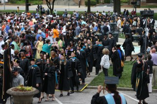 The processional concludes the Brenau University graduate and undergraduate commencement Saturday May 5, 2018 in Gainesville, Ga. (Jason Getz for Brenau University)