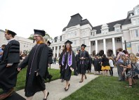 Students during the processional to start the Brenau University graduate and undergraduate commencement Saturday May 5, 2018 in Gainesville, Ga. (Jason Getz for Brenau University)