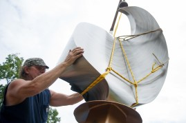 Mike Roig, a Carrboro, N.C. based artist, works to install his sculpture Luminary 830 on the Brenau University Gainesville historic campus on Monday, Aug. 28, 2017. The artwork was facilitated through the Vision 2030 Public Art Committee, an anonymous donor, and the North Georgia Community Foundation. (AJ Reynolds/Brenau University)