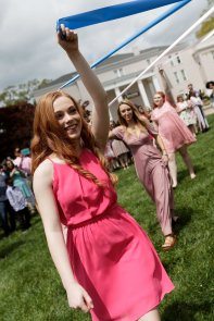Shania McAmis wraps the Maypole (AJ Reynolds/Brenau University)