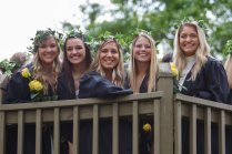 Senior students, Maggie Norton, Allison Smyth, Ella Kleinschmidt, Mason Garland and Olivia Davis atop the Crow's Nest. (AJ Reynolds/Brenau University)