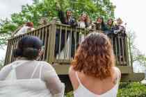 Underclassmen serenade rising seniors atop the Crow's Nest. (AJ Reynolds/Brenau University)