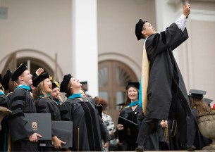 Andrew Phan takes a selfie with his fellow members of the inaugural Doctor of Physical Therapy cohort following the 2018 Spring Commencement Ceremony on Saturday, May 5, on Brenau University's historic Gainesville campus. (Nick Bowman for Brenau University)