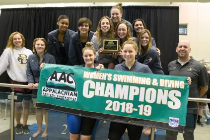 Brenau swimmers pose for a photo after winning the Appalachian Athletic Conference Swimming & Diving Championship Meet on Saturday, Feb. 9, 2019 in Kingsport, Tenn. (AJ Reynolds/Brenau University)