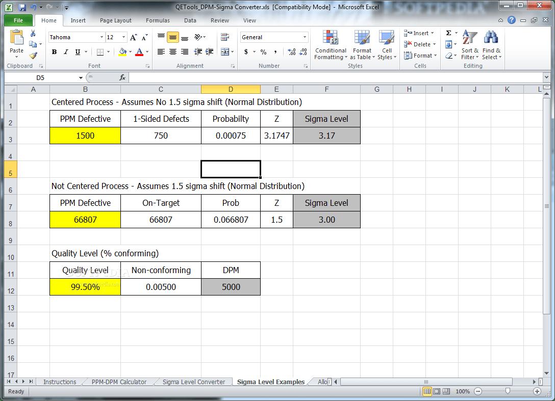 Download Dmp Sigma Level Calculator