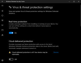 turn off real time protection of anti virus on windows 10