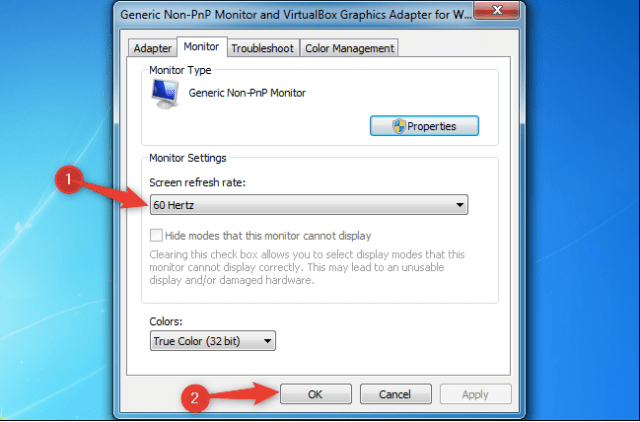 change monitor refresh rate in Windows 7