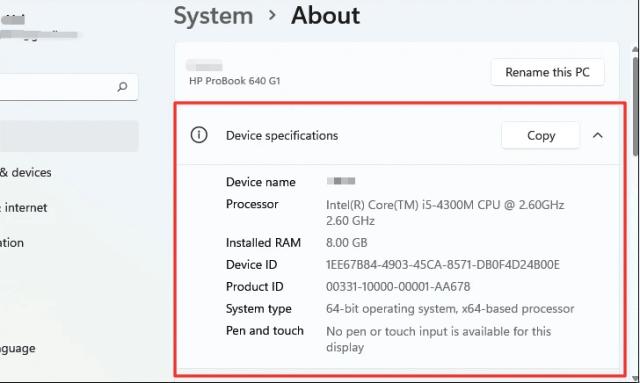 Check Computer Specs Windows 11 via Settings
