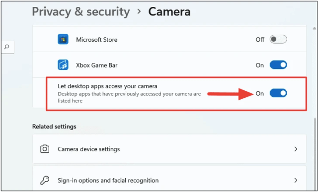 Fix Windows 11 Webcam Not Working by Checking Camera Privacy Settings