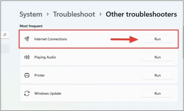 Fix Windows 11 WiFi Not Working by Running the Internet Connections Troubleshooter