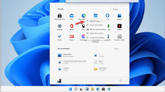 How to Rearrange items pinned to the Start Menu