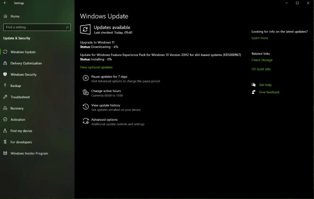 Install Windows 11 Update from Windows 10