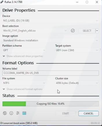 Drag windows 10 iso file